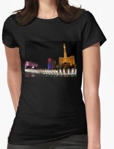 Vibrant Las Vegas - Bellagio's Fountains, Paris, Bally's and Flamingo Womens Fitted T-Shirt