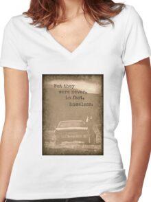 Never Homeless - New! Supernatural Winchesters design! Women's Fitted V-Neck T-Shirt