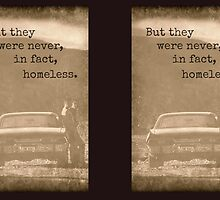 Never Homeless - New! Supernatural Winchesters design! by luvchildofelvis