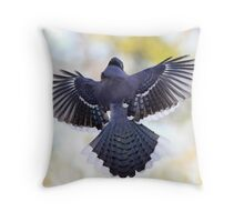 Blue Wingspan On Pastel Background Throw Pillow