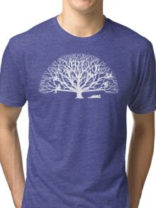 Tree Dwelling White Silhouette Tri-blend T-Shirt