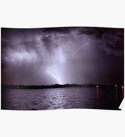 Lake Lightning Sky Poster