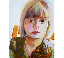 Portrait of a young girl, acrylic on yupo paper Photographic Print