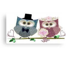 Cute Bride and Groom Wedding Owls Art Canvas Print