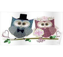 Cute Bride and Groom Wedding Owls Art Poster