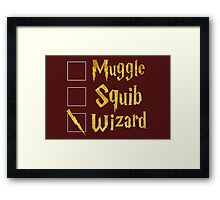 Harry Potter: Muggle, Squib, Wizard! Framed Print