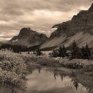 Crowfoot Glacier (BW) by JamesA1