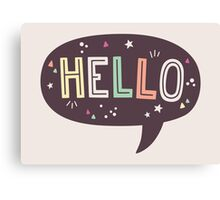 Hello Speech Bubble Typography Canvas Print