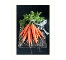 Carrots on Black Art Print