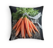 Carrots on Black Throw Pillow
