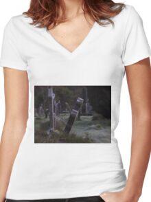 Tilted Gravestone Women's Fitted V-Neck T-Shirt