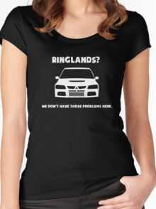 'Ringlands? We Dont Have Those Problems Here' Mitsubishi Evo Gag Design Sticker / Tee Women's Fitted Scoop T-Shirt