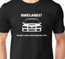 'Ringlands? We Dont Have Those Problems Here' Mitsubishi Evo Gag Design Sticker / Tee Unisex T-Shirt