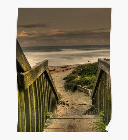 Old Bar beach walkway Poster
