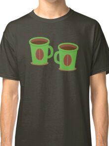 Two green mugs cups with coffee beans Classic T-Shirt