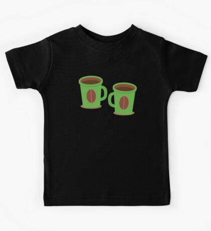 Two green mugs cups with coffee beans Kids Tee