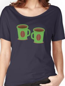 Two green mugs cups with coffee beans Women's Relaxed Fit T-Shirt