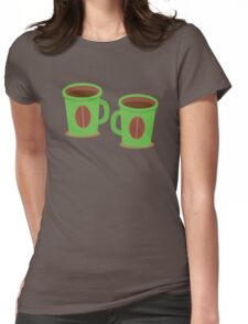 Two green mugs cups with coffee beans Womens Fitted T-Shirt