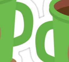 Two green mugs cups with coffee beans Sticker