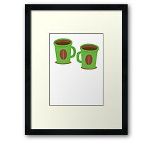 Two green mugs cups with coffee beans Framed Print