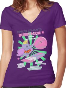 Pink Elephants Bubblegum Women's Fitted V-Neck T-Shirt