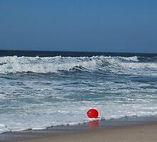 Red balloon in Ocean by Bredenkamp