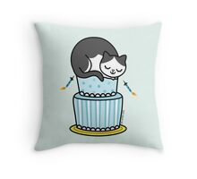 Birthday Cake with Cat Throw Pillow