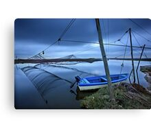 Lonely boat at the Delta of Aliakmonas river Canvas Print