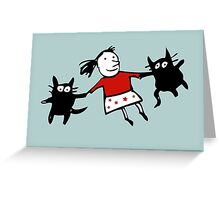 Happy Jumping Cats Greeting Card