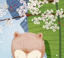 White Socks Series: Bear Under Sakura Blossom Sticker