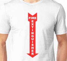fire extinguisher sign and arrow points down Unisex T-Shirt