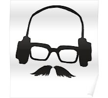 Hipster Face Portrait Music Mustache Glasses Poster
