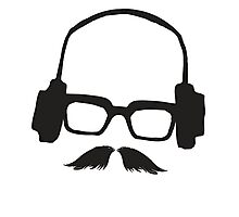 Hipster Face Portrait Music Mustache Glasses Photographic Print