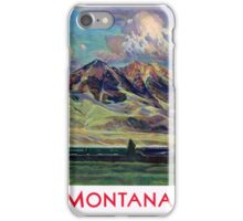 Montana Vintage Travel Poster Restored iPhone Case/Skin