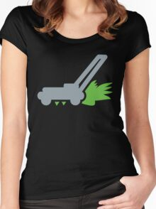 Lawn mower with cut grass Women's Fitted Scoop T-Shirt