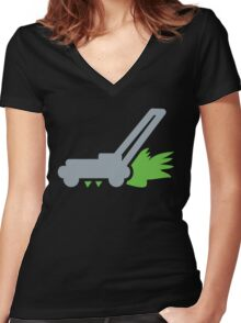 Lawn mower with cut grass Women's Fitted V-Neck T-Shirt