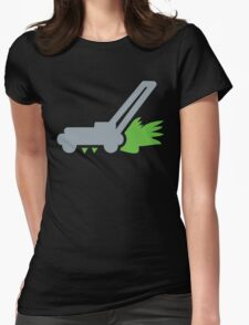 Lawn mower with cut grass Womens Fitted T-Shirt