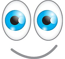 Funny cute wacky BLUE eyes looking with a smile Photographic Print