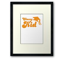 Classy kid with Education mortar board graduate Framed Print