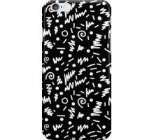 Memphis Night - black and white retro throwback 80's inspired pattern design iPhone Case/Skin