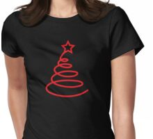 Twirly cute Christmas tree Womens Fitted T-Shirt