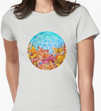 Orange Lilies & White Mandala on Blue Womens Fitted T-Shirt