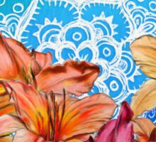 Orange Lilies & White Mandala on Blue Sticker