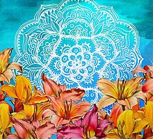 Orange Lilies & White Mandala on Blue by micklyn