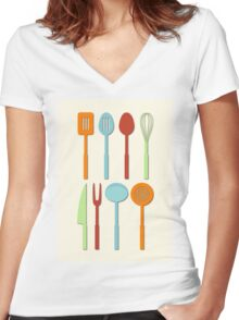 Kitchen Utensil Colored Silhouettes on Cream Women's Fitted V-Neck T-Shirt