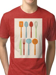 Kitchen Utensil Colored Silhouettes on Cream Tri-blend T-Shirt