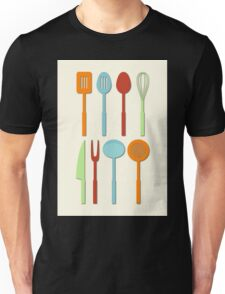 Kitchen Utensil Colored Silhouettes on Cream Unisex T-Shirt