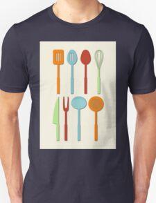 Kitchen Utensil Colored Silhouettes on Cream Unisex T-Shirt