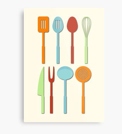 Kitchen Utensil Colored Silhouettes on Cream Metal Print