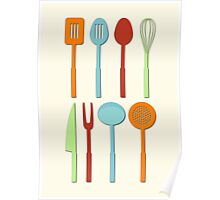 Kitchen Utensil Colored Silhouettes on Cream Poster